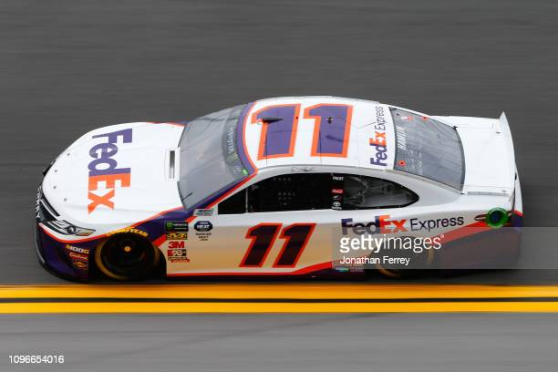 Denny Hamlin driver of the FedEx Express Toyota during practice for the Monster Energy NASCAR Cup Series 61st Annual Daytona 500 at Daytona...