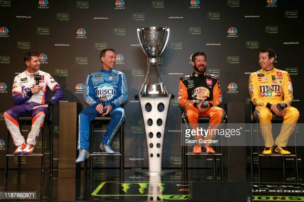 Denny Hamlin, driver of the FedEx Express Toyota, Kevin Harvick, driver of the Busch Light Ford, Martin Truex Jr., driver of the Bass Pro Shops...