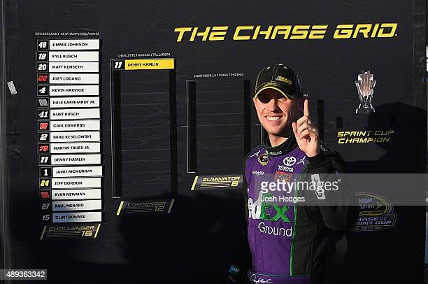 Denny Hamlin driver of the FedEx Ground Toyota adds his name to the contender list after winning the NASCAR Sprint Cup Series myAFibRiskcom 400 at...