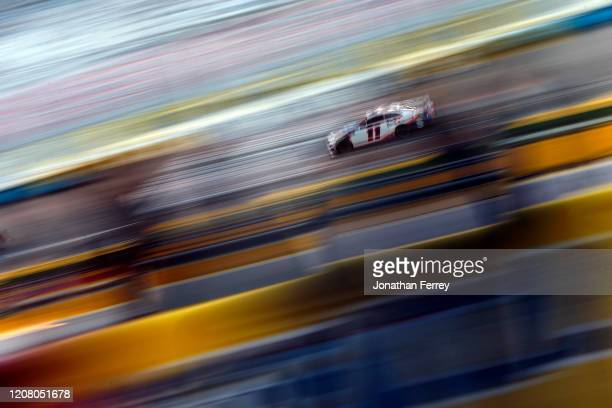 Denny Hamlin, driver of the FedEx Ground Toyota, during practice for the NASCAR Xfinity Series at Las Vegas Motor Speedway on February 21, 2020 in...