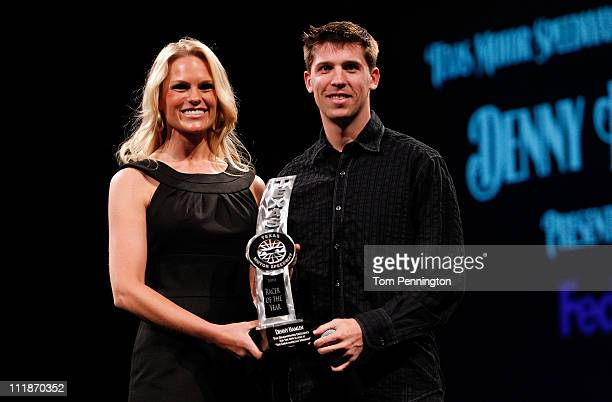 Denny Hamlin driver of the FedEx Office Toyota accepts the Texas Motor Speedway Racer of the Year Award during the 2011 Texas Motorsports Hall of...