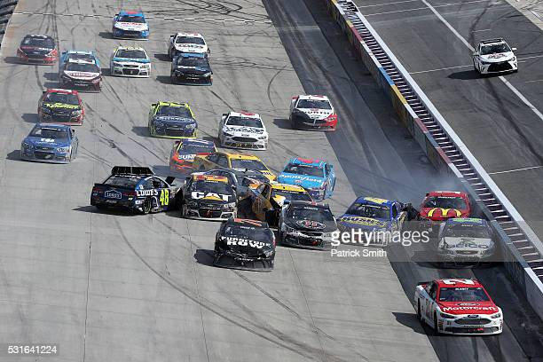 Denny Hamlin, driver of the FedEx Office Toyota, Jamie McMurray, driver of the McDonald's/Cessna Chevrolet, Kevin Harvick, driver of the Jimmy John's...