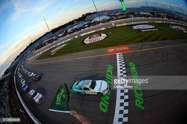 Denny Hamlin driver of the Hisense Toyota and Joey Logano driver of the Discount Tire Ford lead the field to start during the NASCAR XFINITY Series...