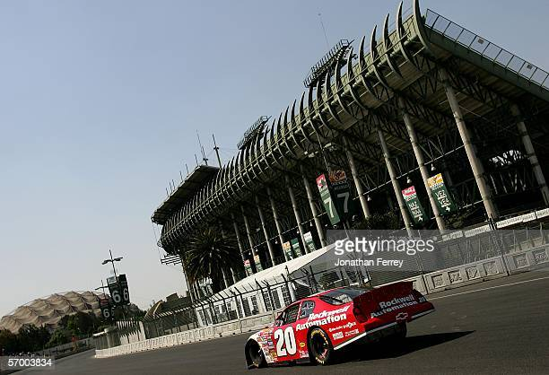 Denny Hamlin drives his Rockwell Automation Chevroletto victory during the NASCAR Busch Series Telcel-Motorola 200 on March 5, 2006 at Autodromo...
