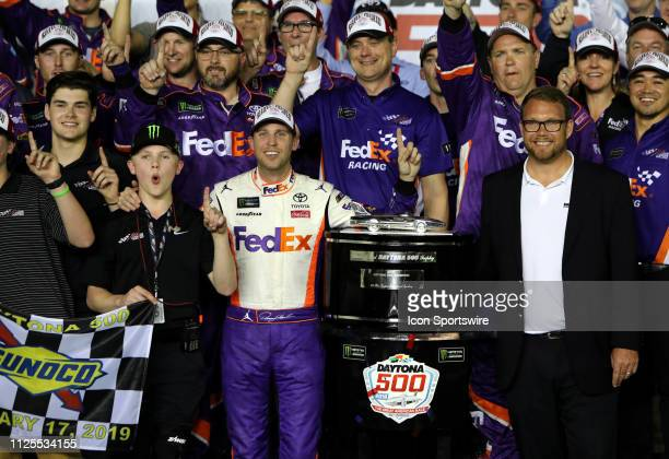 Denny Hamlin Joe Gibbs Racing Toyota Camry FedEx Express during the running of the 61st annual Daytona 500 on February 17 2019 at Daytona...