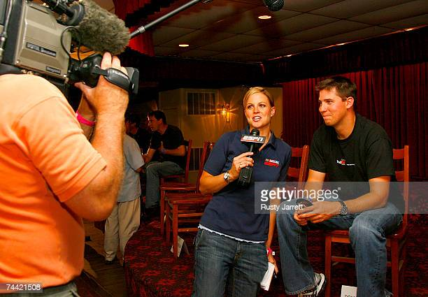 Denny Hamlin speaks with ESPN's Shannon Spake prior to the Nextel Prelude to the Dream on June 6 2007 at Eldora Speedway in New Weston Ohio