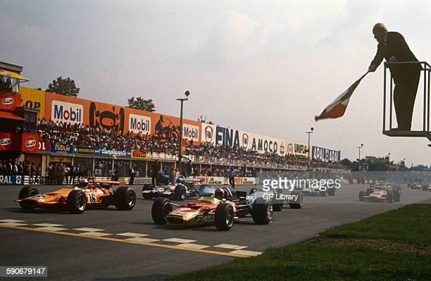 Denny Hulme and Jochen Rindt head the pack September 7 Italian GP Monza