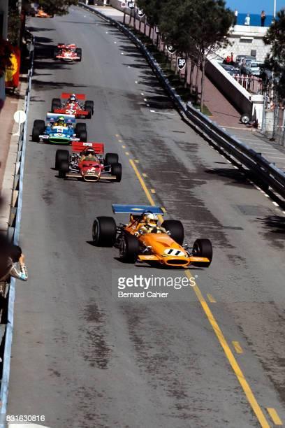 Denny Hulme Jochen Rindt Henri Pescarolo Piers Courage McLarenFord M14A LotusFord 49B Matra MS120 De TomasoFord 505/38 Grand Prix of Monaco Monaco 10...