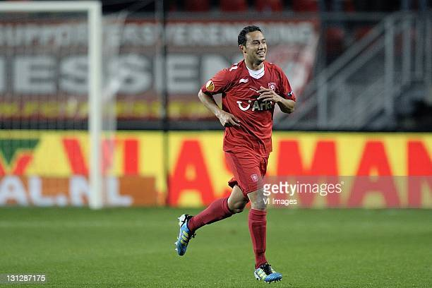 Denny Landzaat of FC Twente celebrates after scoring during the UEFA Europa League match between FC Twente and Odense BK at the Grolsch Veste on...