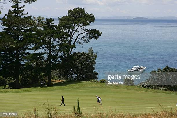 Denny Lucas of England walks along the 16th fairway during round three of the New Zealand Open at Gulf Harbour Country Club on the Whangaparoa...