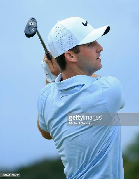 Denny McCarthy hits his drive on the first hole during the third round of the Webcom Tour Championship held at Atlantic Beach Country Club on...