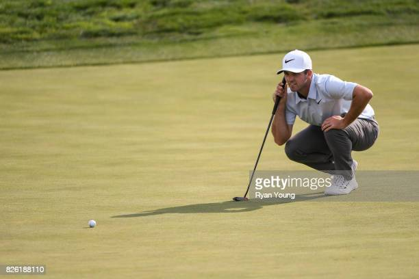 Denny McCarthy lines up a putt on the ninth green during the first round of the Webcom Tour Ellie Mae Classic at TPC Stonebrae on August 3 2017 in...