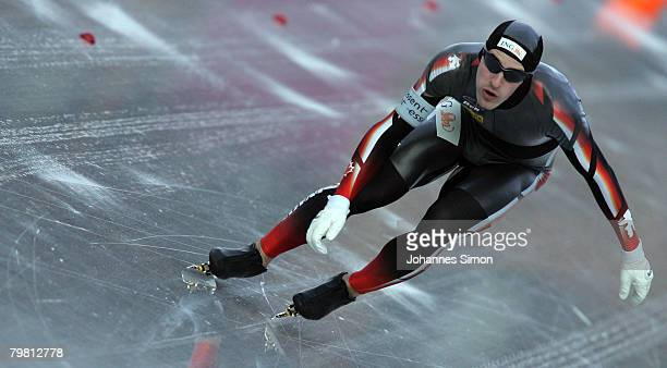 Denny Morrison of Canada competes in the 1000m heats during Day 2 of the Essent ISU Speed Skating World Cup at the Ludwig Schwabl Eisstadion on...