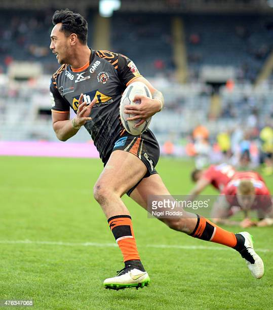 Denny Solomona of Castleford Tigers during the Super League match between Castleford Tigers and Wakefield Trinity Wildcats at St James' Park on May...