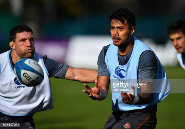 Denny Solomona of England releases a pass during a training session at San Isidro Club on June 7 2017 in Buenos Aires Distrito Federal
