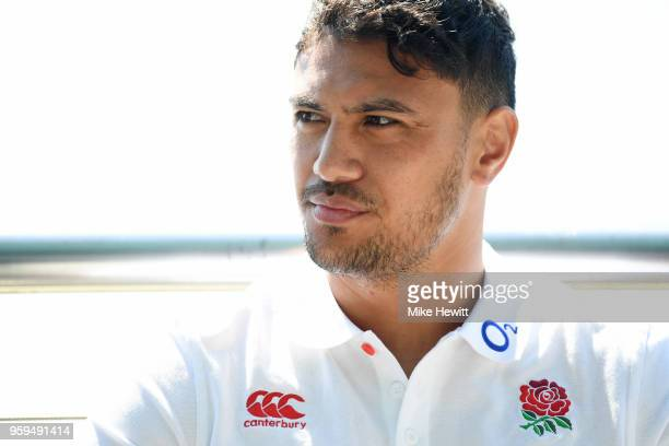 Denny Solomona of England talks to journalists during an England RFU media briefing at Brighton Marina on May 17 2018 in Brighton England