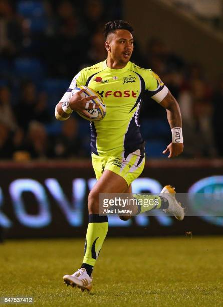 Denny Solomona of Sale Sharks breaks through to score his second try during the Aviva Premiership match between Sale Sharks and London Irish at AJ...