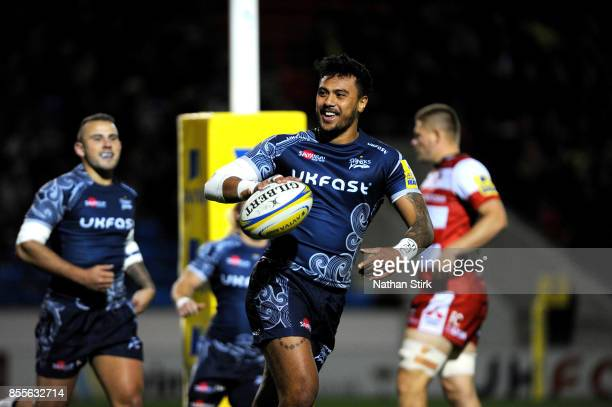 Denny Solomona of Sale Sharks celebrates after scoring the first try during the Aviva Premiership match between Sale Sharks and Gloucester Rugby at...