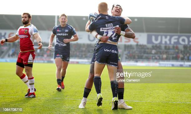 Denny Solomona of Sale Sharks celebrates with Aaron Reed during the Gallagher Premiership Rugby match between Sale Sharks and Northampton Saints at...
