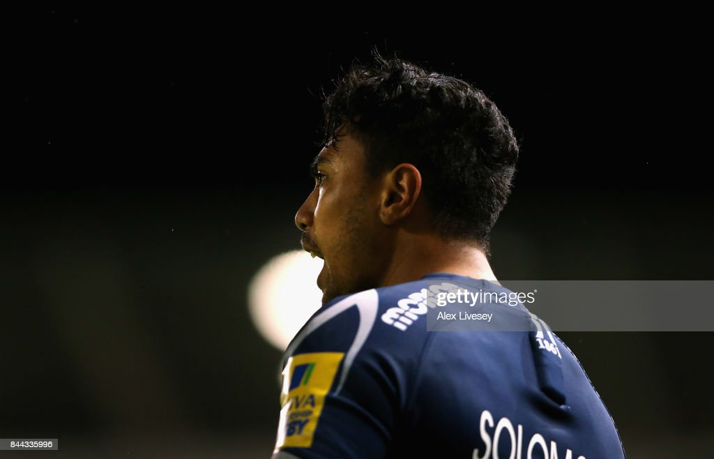 Denny Solomona of Sale Sharks looks on during the Aviva Premiership match between Sale Sharks and Newcastle Falcons at AJ Bell Stadium on September 8, 2017 in Salford, England.