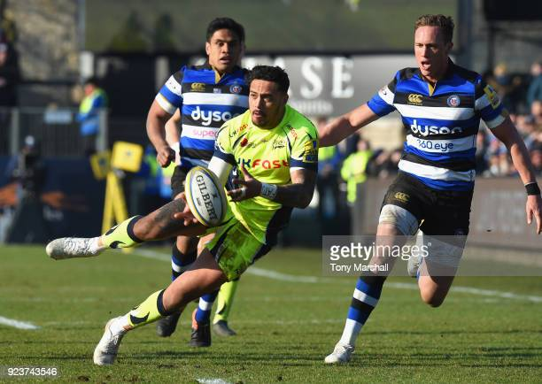 Denny Solomona of Sale Sharks passes the ball during the Aviva Premiership match between Bath Rugby and Sale Sharks at Recreation Ground on February...