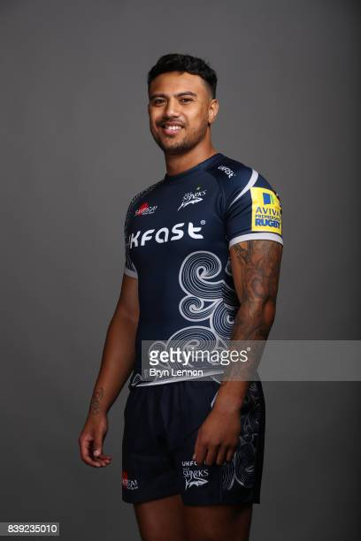 Denny Solomona of Sale Sharks poses during a photocall on August 23 2017 in Sale England