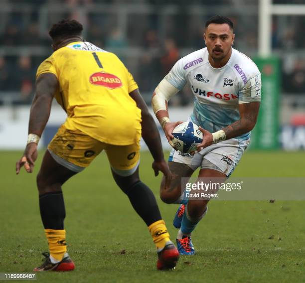 Denny Solomona of Sale Sharks runs with the ball during the Heineken Champions Cup Round 2 match between Sale Sharks and La Rochelle at AJ Bell...