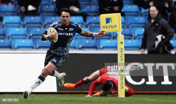 Denny Solomona of Sale Sharks scores a try during the Aviva Premiership match between Sale Sharks and Worcester Warriors at AJ Bell Stadium on March...