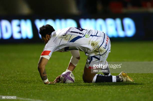 Denny Solomona of Sale Sharks scores a try during the European Rugby Challenge Cup match between Sale Sharks and Toulouse at AJ Bell Stadium on...