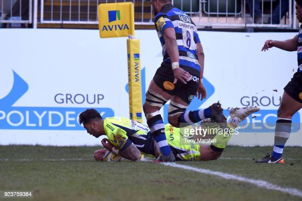 Denny Solomona of Sale Sharks scores a try uring the Aviva Premiership match between Bath Rugby and Sale Sharks at Recreation Ground on February 24...