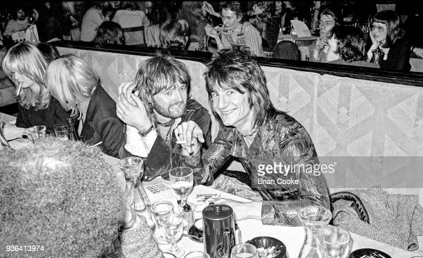 Denny the hairdresser from Sweeny's in Beauchamp Place with Ronnie Wood photographed at a reception for The Pointer Sisters at the Biba Restaurant in...