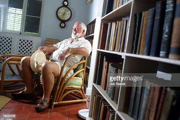 Denny Woods who won the 2001 Ernest Hemingway contest visits the home/studio where the real Hemingway wrote many of his classic books July 22 2001 in...