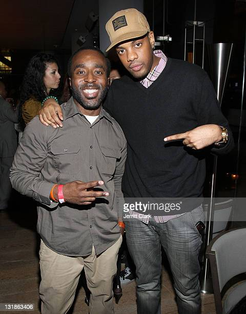 Denrick Romain and The Kid Daytona attend a Hennessey Black party to celebrate DJ DNice signing to Roc Nation DJ's at The Cooper Square Hotel on...