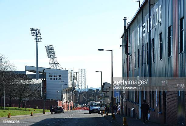 Dens Park home of Dundee FC and Tannadice Park Home of Dundee United FC separated by 200 metres ahead of the Ladbrokes Scottish Premiership match...