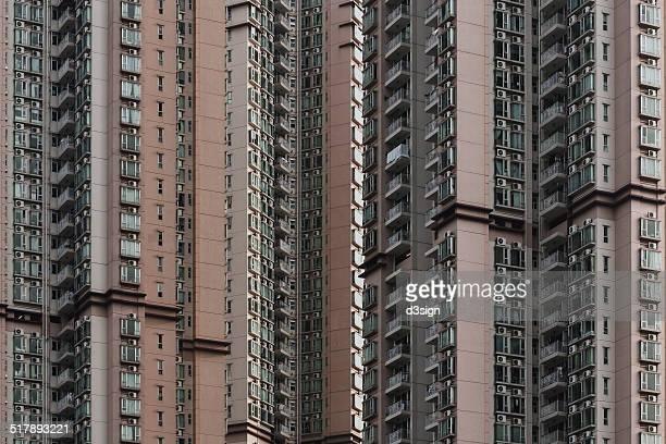 Dense and compact residential blocks in Hong Kong