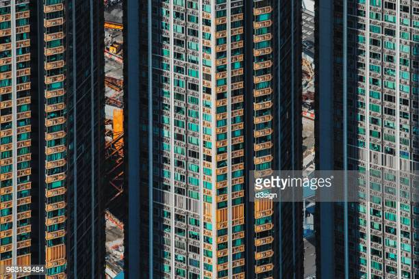 Dense and highrise residential apartment blocks in city