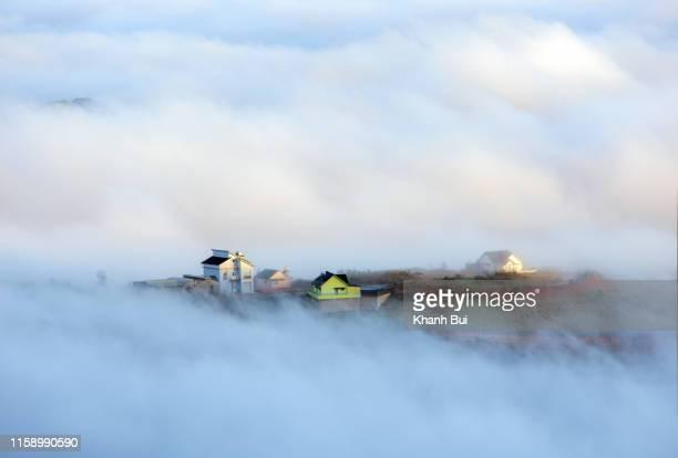 Dense fog and magic light covering fairy hamlet