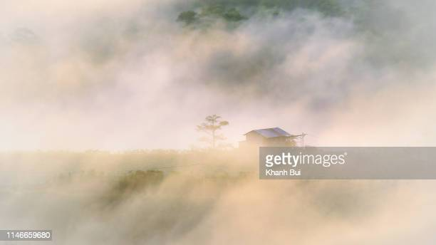 dense fog cover lonely house