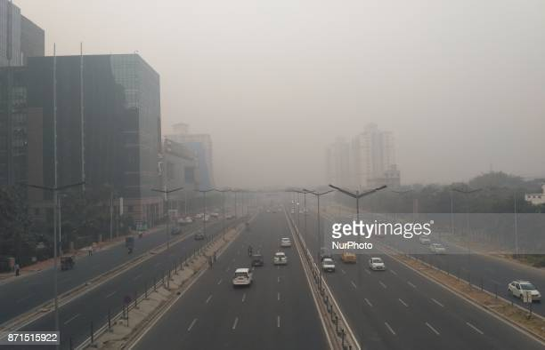 Dense fog/Smog in morning resulting in very less visibility at Dhaula Kuan on November 8 2017 in New Delhi India Delhi woke up to a thick brown haze...