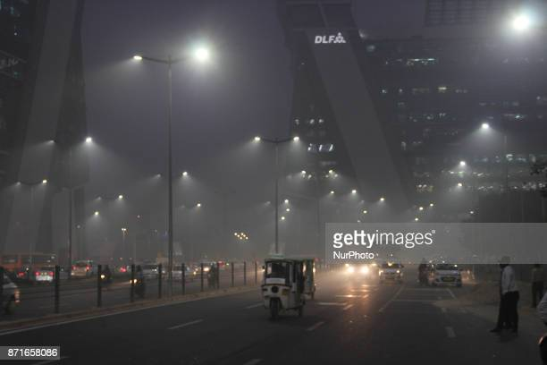 Dense fog/Smog in morning resulting in very less visibility on November 8 2017 in New Delhi India Delhi woke up to a thick brown haze this morning...