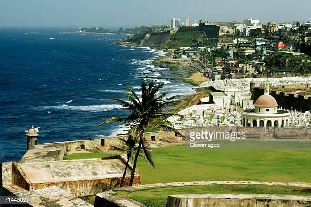 Dense habitation line up the coastline, El Morro Fort, San Juan, Puerto Rico