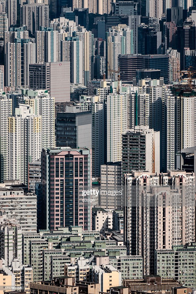 Dense highrise buildings in crowded city : Stock Photo