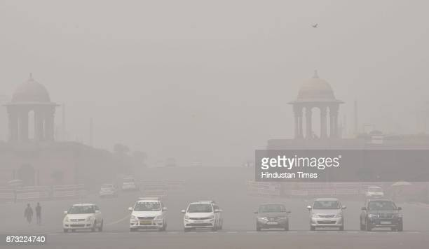 Dense smog engulfed the city resulting in very less visibility in the morning on November 12 2017 in New Delhi India Air pollution levels skyrocketed...
