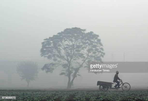Dense smog engulfs the city resulting in very less visibility at Akshardham on November 13 2017 in New Delhi India The air quality in DelhiNCR was...