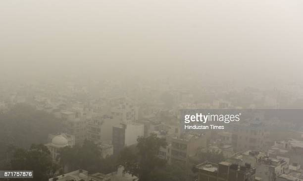 Dense Smog in morning resulting in very less visibility on November 8 2017 in New Delhi India The air quality index of the Central Pollution Control...