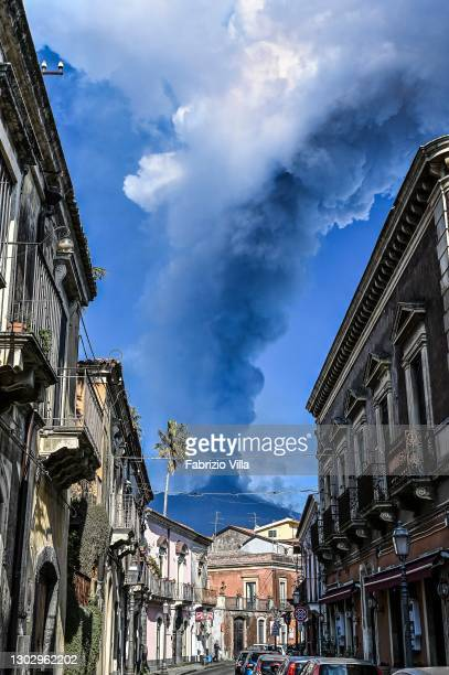 Dense smoke caused by Etna's eruption seen from Corso Sicilia in Trecastagni on February 19, 2021 in Catania, Italy. Strong roars and explosions with...