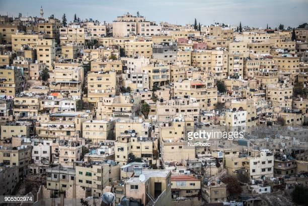 Dense urban scenery of unplanned development in Amman the capital city of Jordan on 3 January 2018