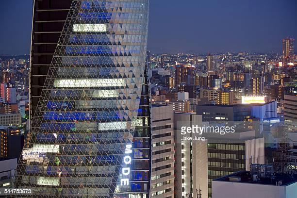 Densely packed Nagoya night cityscape