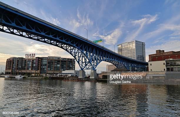 Densely populated Riverbank, Cuyahoga River, Flats Residential Neighborhood, Cleveland, Ohio, USA