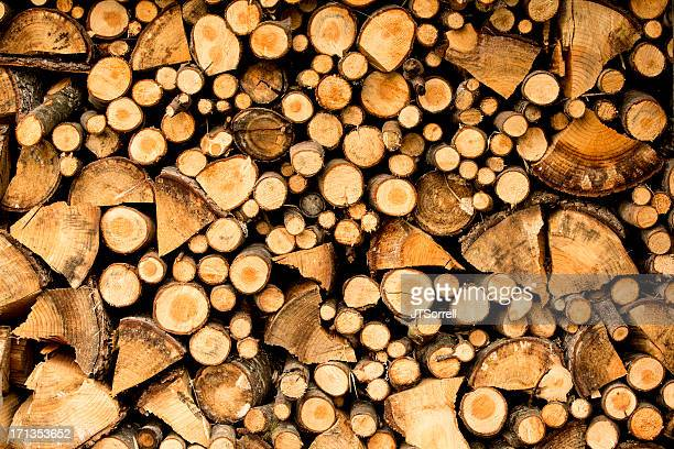 Densely stacked wood